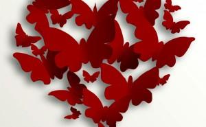 Абстракция бабочки сердце красное