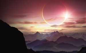 Горы и солнце свет розовый желтый туман