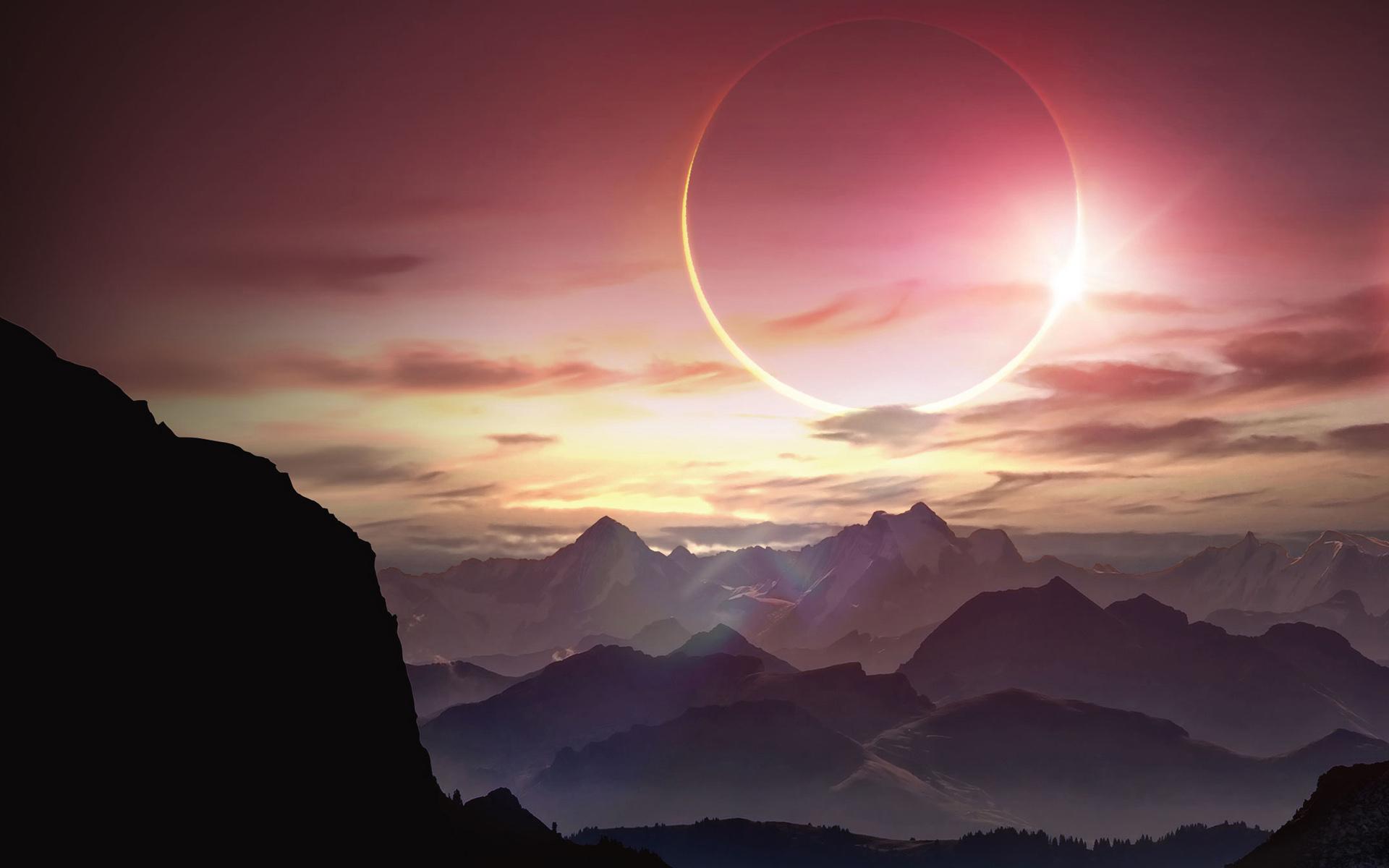 <p>Горы и солнце</p>