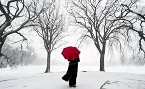 япония снег сакура девушка зонт на рабочий стол скачать