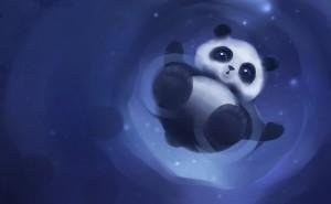 Панда рисунок графика на синем фоне