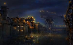 ночь огни порт свет синева темнота