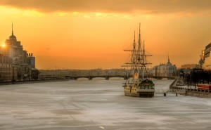 Санкт-Петербург утро зима река лед корабль обои на рабочий стол города страны высокого качества