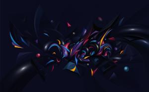 Абстракция хаос разноцветный желтый черный синий фиолетовый розовый 3d абстракция