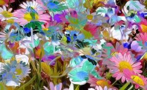 Цветы абстракции разноцветные