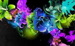 Цветы абстракция разноцветный синий желтый неон мистика
