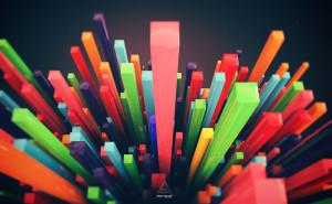 3d абстракция разноцветные прямоугольные блоки зеленый красный синий