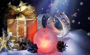 Подарки Праздник Новый год обои на рабочий стол высокого качества скачать рождество снег елки свечи елочные шары