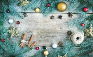 Новогодние обои, ель, декорации