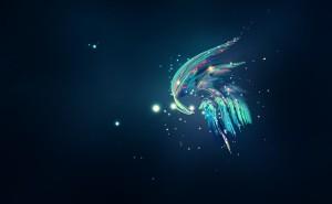 Космическая абстракция космос свет неон синий