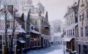 живопись, город, Картина, зима, александр стародубов обои для рабочего стола