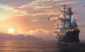 Спящий мир корабль в море дракон закат солнце горы