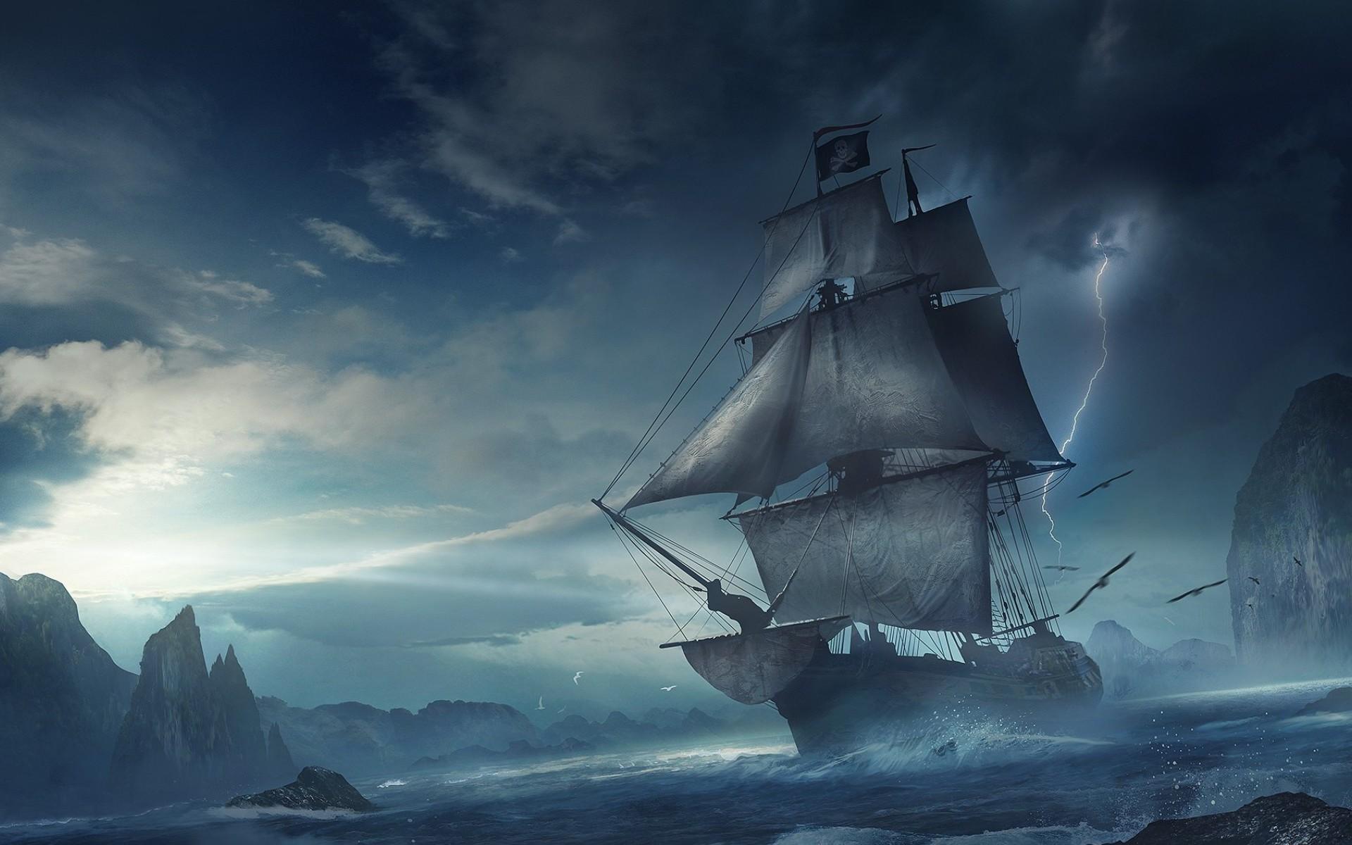 <p>Корабль в шторм</p>