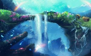 art-fantaziya-vodopad-cvety