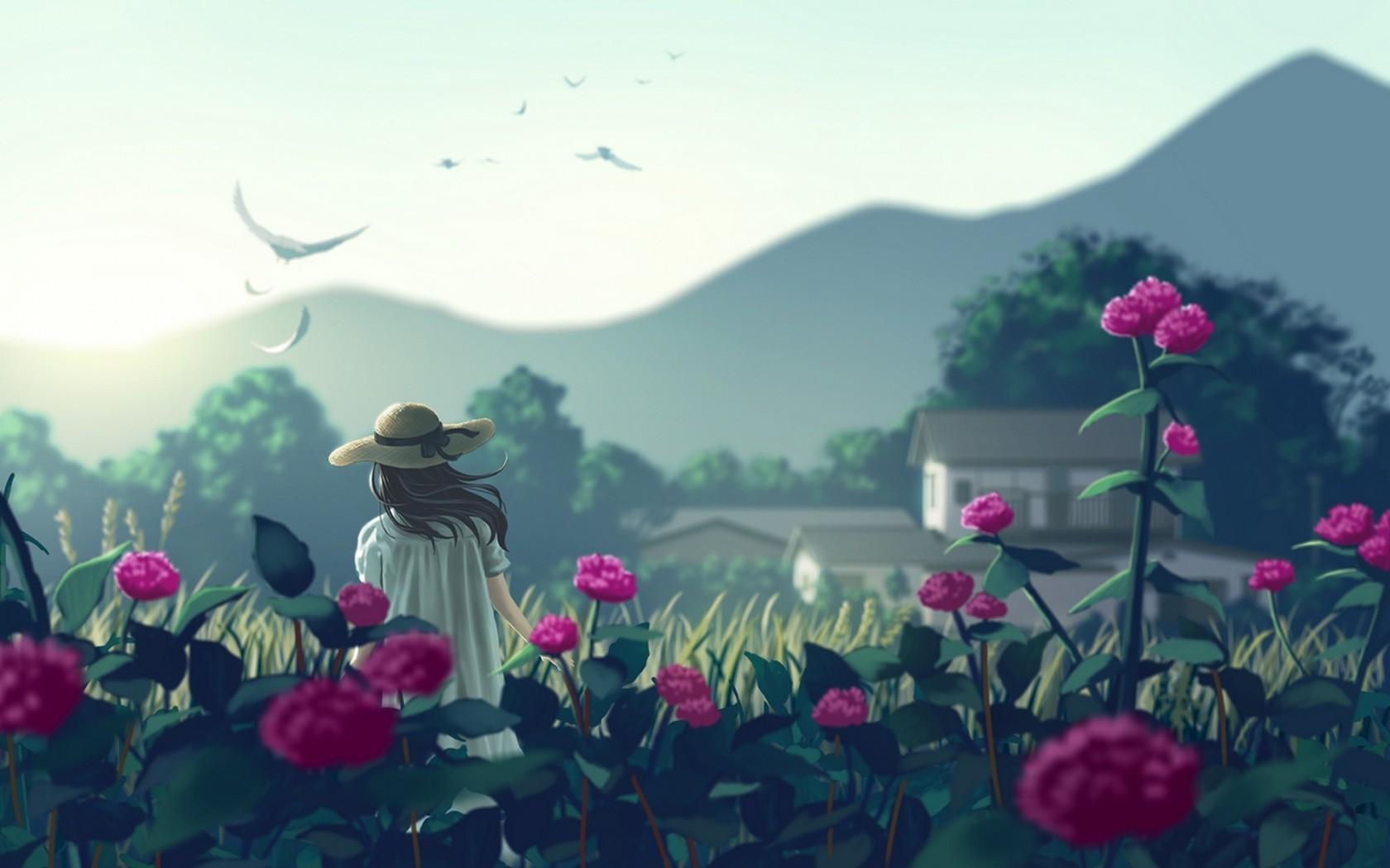 <p>Девушка Цветы Арт</p>