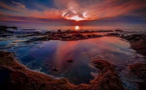 море закат красный пейзаж на рабочий стол обои категории пейзаж скачать высокого качества