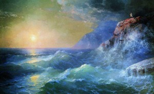 бои фото картинку на тему живопись, пейзаж цветы рисунки море скалы шторм