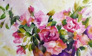 акварель обои, цветы обои, живопись обои