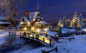 Канун нового года, дом в деревне в гирляндах