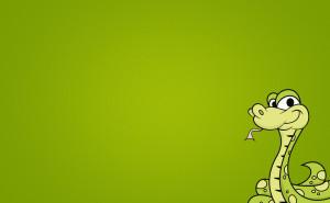 Змея на зеленом фоне мультипликации на рабочий стол