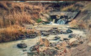 Стилизованое фото на рабочий стол обои река камни природа осень