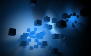3d абстракция куб синий неон много кубов