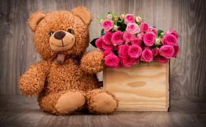 Медвежонок розовые розы любовь романтика обои выского качества скачать на рабочий стол