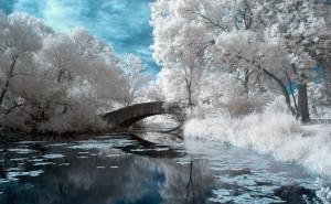 Зимняя река на рабочий стол обои категории пейзаж скачать высокого качества