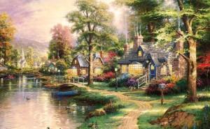 живопись рисунок дом у реки