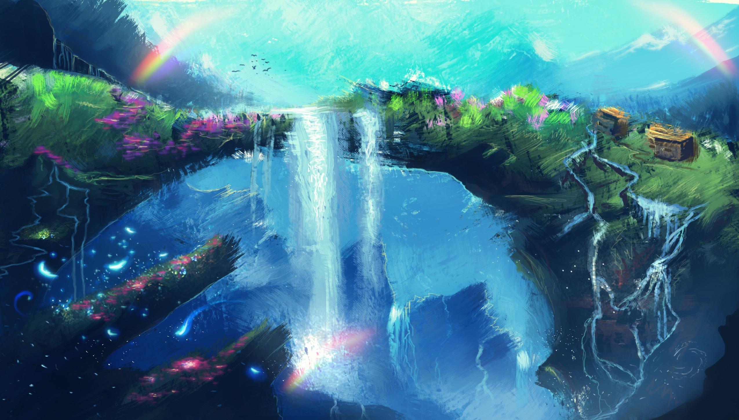 <p>Арт рисунок водопад</p>