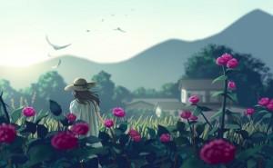 art-nauimusuka-devushka-cvety