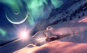 Спящий мир планета снег дом
