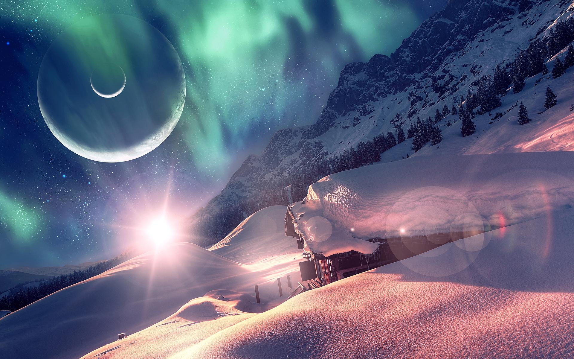 <p>Спящий мир планета снег дом </p>