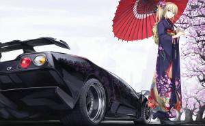 машина девушка сакура анимэ