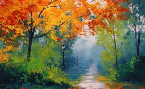 бои фото картинку на тему живопись, пейзаж цветы рисунки осень