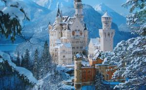 Замок в горах зимой на рабочий стол пейзаж обои высокого качества снег