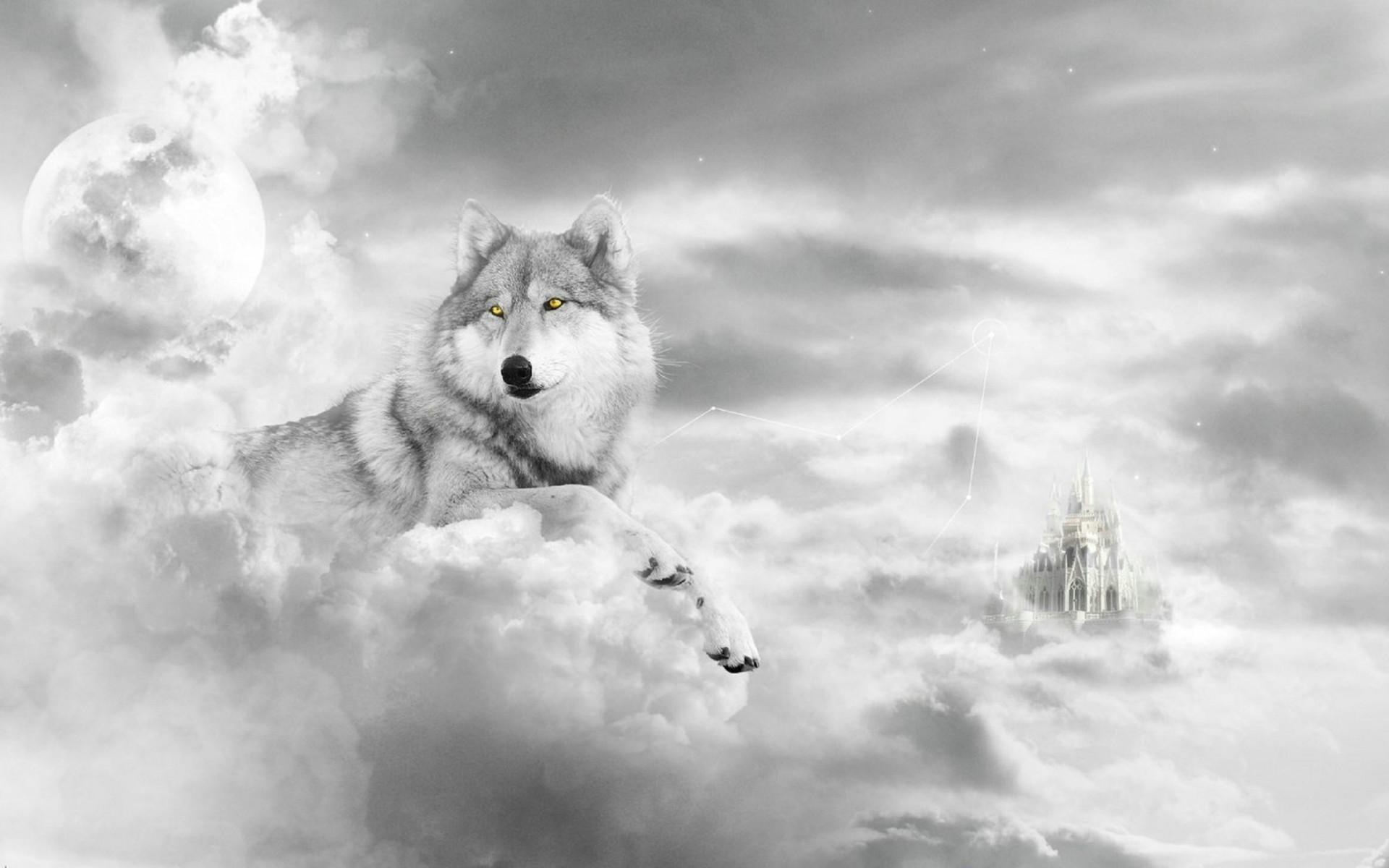 обои на рабочий стол волки нарисованная № 649072  скачать